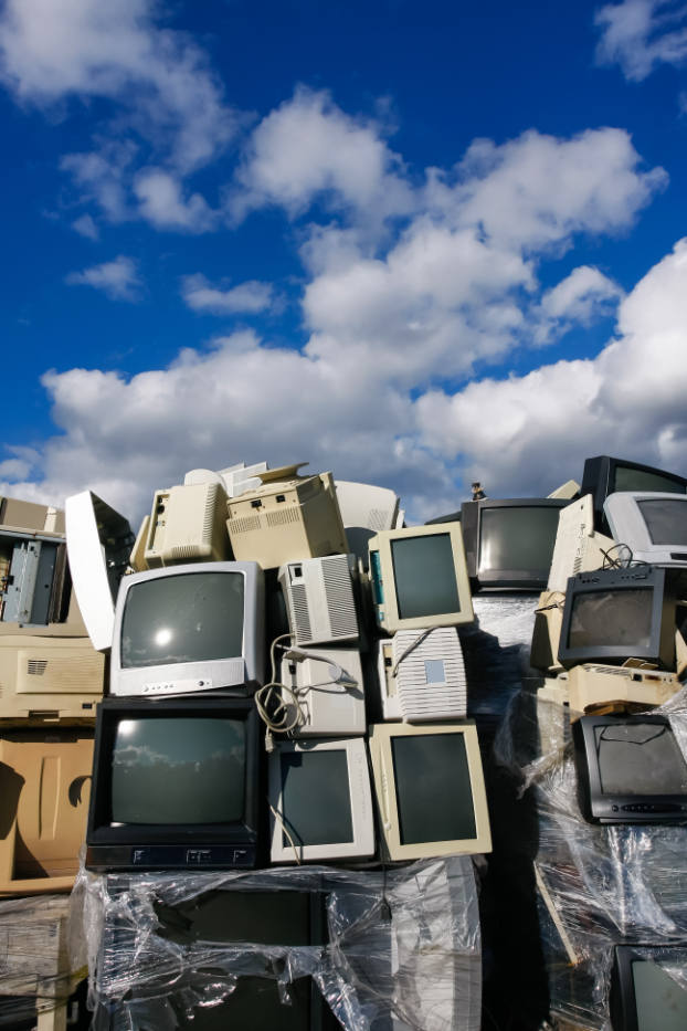 Junked,Crts,Computer,Monitors,,Tvs,And,Old,Printers,For,Recycling